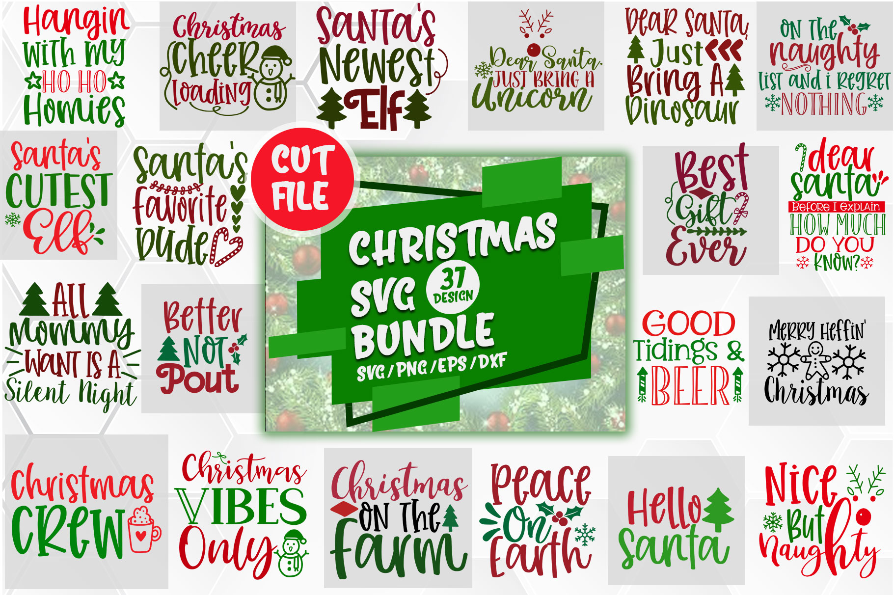 Download Free Christmas Design Big Bundle Graphic By Orindesign Creative Fabrica for Cricut Explore, Silhouette and other cutting machines.