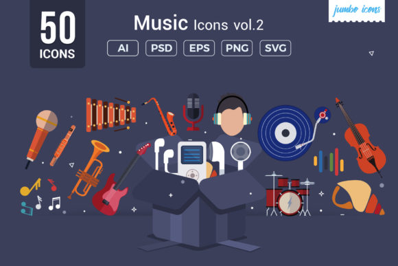 Print on Demand: Flat Vector Icons Music Pack Graphic Icons By jumboicons