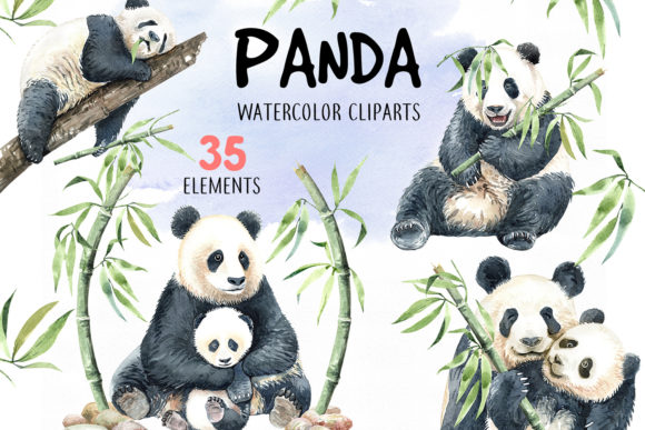 Print on Demand: Panda Watercolor Animal Clip Art Graphic Illustrations By SapG Art