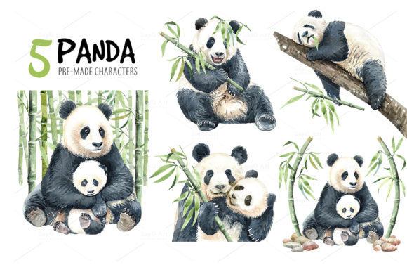 Print on Demand: Panda Watercolor Animal Clip Art Graphic Illustrations By SapG Art - Image 3