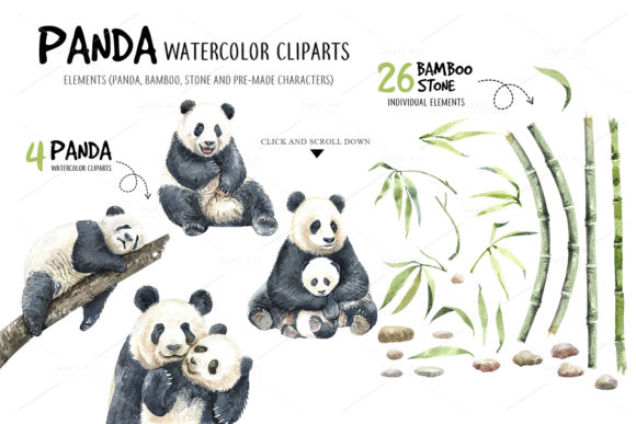 Print on Demand: Panda Watercolor Animal Clip Art Graphic Illustrations By SapG Art - Image 2
