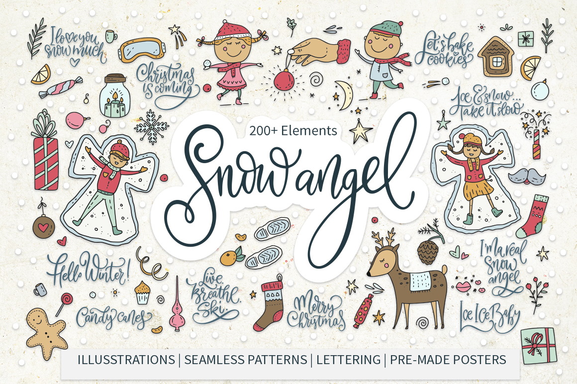 Download Free Snow Angel Big Christmas Pack Graphic By Red Ink Creative Fabrica for Cricut Explore, Silhouette and other cutting machines.