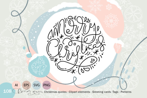 Christmas Monoline Collection Graphic By Happy Letters