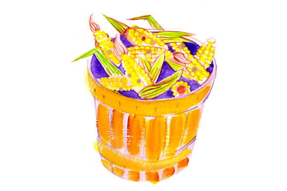 Basket of Corn in Gouache Style Thanksgiving Craft Cut File By Creative Fabrica Crafts