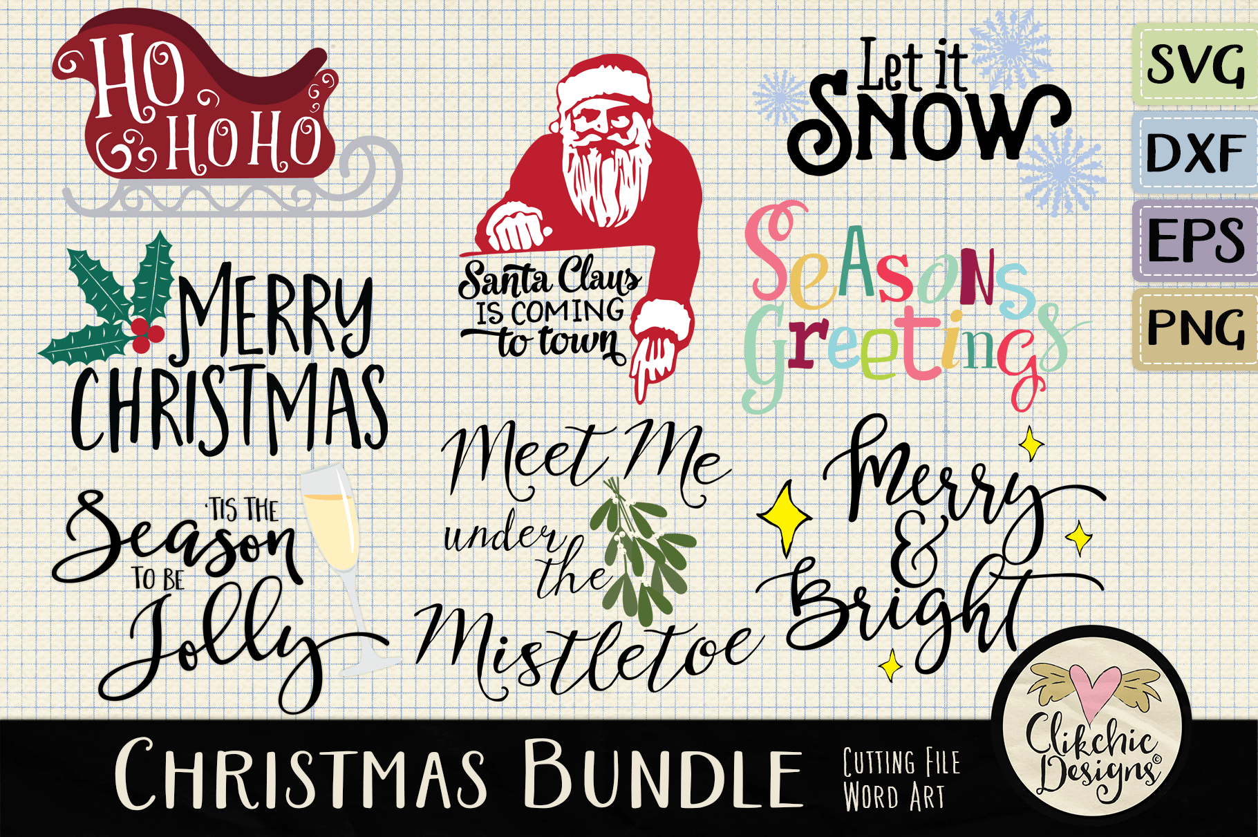 Download Free Christmas Clipart Bundle Graphic By Clikchicdesigns Creative for Cricut Explore, Silhouette and other cutting machines.