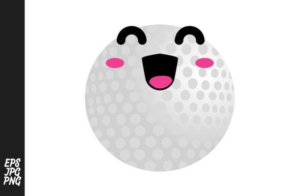 Print on Demand: Cute Golf Ball Cartoon Expressions Graphic Crafts By Arief Sapta Adjie - Image 1