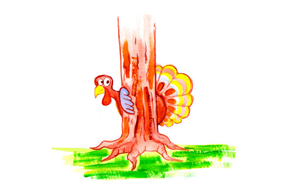 Download Free Turkey Hiding Behind Tree In Gouache Style Svg Cut File By for Cricut Explore, Silhouette and other cutting machines.