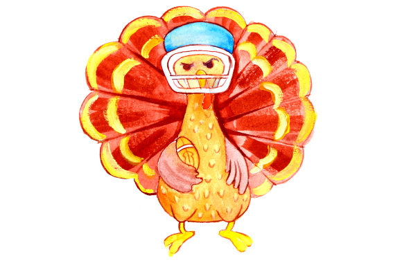 Turkey Wearing a Football Helmet in Gouache Style Thanksgiving Craft Cut File By Creative Fabrica Crafts