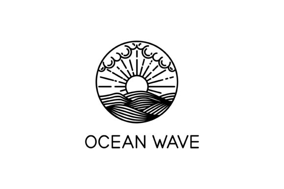 Download Free Logo Ocean Waves Line Art Graphic By Sabavector Creative Fabrica for Cricut Explore, Silhouette and other cutting machines.
