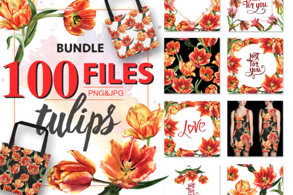 Print on Demand: Tulip Red PNG Watercolor Flower Set Graphic Illustrations By MyStocks