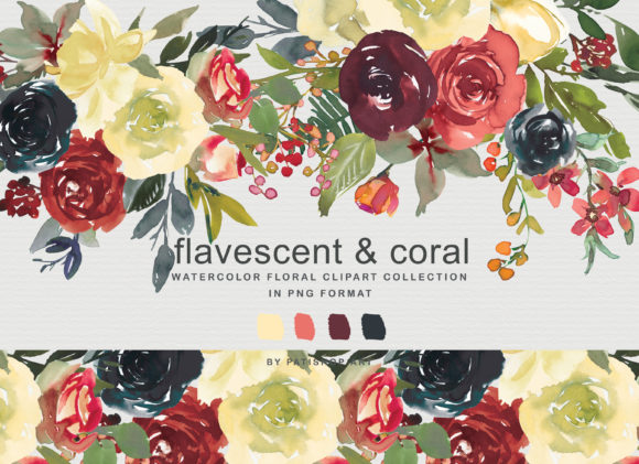 Flavescent Coral Watercolor Clipart Set Graphic Illustrations By Patishop Art