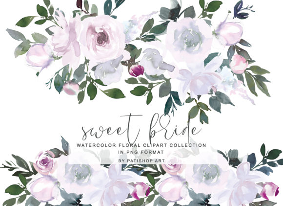 White Pink Watercolor Floral Clipart Set Graphic Illustrations By Patishop Art