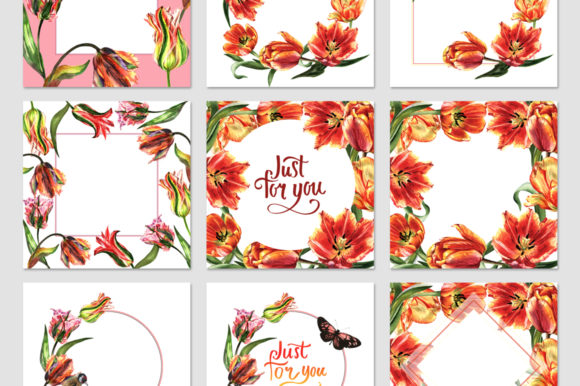 Print on Demand: Tulip Red Watercolor Flower Set Graphic Illustrations By MyStocks - Image 3