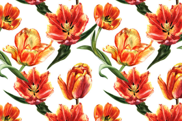 Print on Demand: Tulip Red Watercolor Flower Set Graphic Illustrations By MyStocks - Image 4