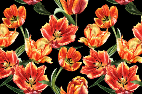 Print on Demand: Tulip Red Watercolor Flower Set Graphic Illustrations By MyStocks - Image 5