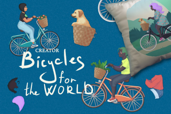 Bicycles for the World. Creator Graphic Illustrations By AlenaO