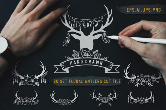 Deer Antlers with Floral Cut Files Graphic Crafts By AllmoStudio
