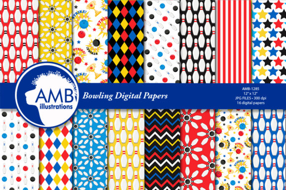 Bowling Night Digital Papers Graphic Patterns By AMBillustrations - Image 1