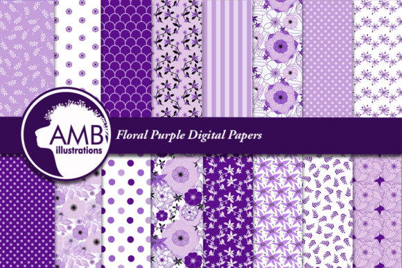 Purple Floral Digital Papers AMB-1914 Graphic Patterns By AMBillustrations