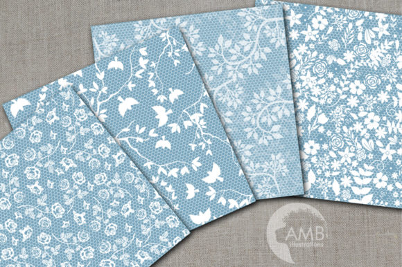 Shabby Chic Lace Digital Papers AMB-1915 Graphic Patterns By AMBillustrations