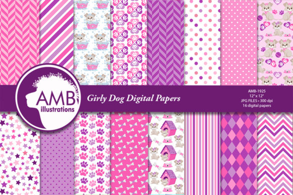 Pink Girly Dog Digital Papers Graphic Patterns By AMBillustrations