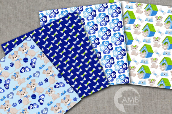 Boy Dog Digital Papers Graphic Patterns By AMBillustrations - Image 1