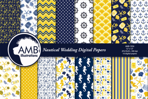 Nautical Digital Papers, Beach AMB-1954 Graphic Patterns By AMBillustrations