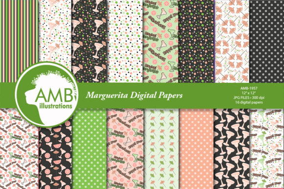 Margarita Digital Papers AMB-1957 Graphic Patterns By AMBillustrations - Image 1