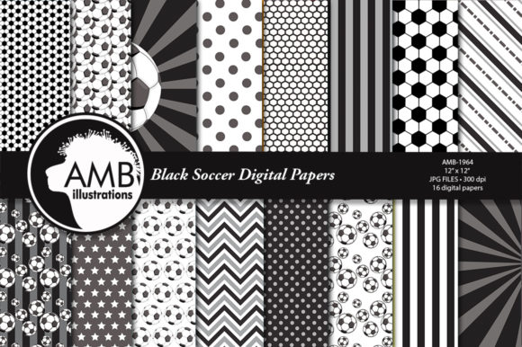 Black Soccer Digital Papers  Graphic Patterns By AMBillustrations - Image 1