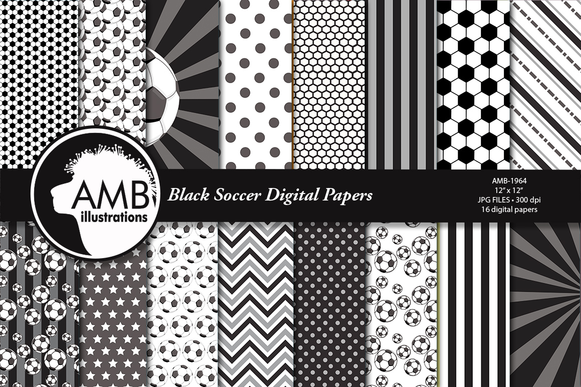 Download Free Black Soccer Digital Papers Graphic By Ambillustrations Creative Fabrica for Cricut Explore, Silhouette and other cutting machines.