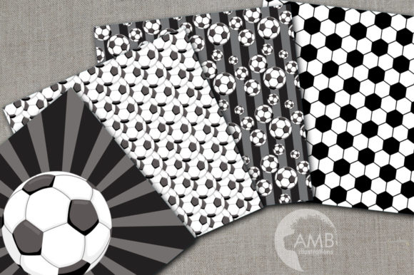 Black Soccer Digital Papers  Graphic Patterns By AMBillustrations - Image 2