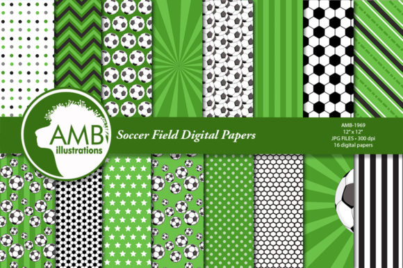 Soccer Field Digital Papers Graphic Patterns By AMBillustrations