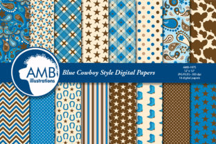 Blue Cowboy Digital Papers Graphic Patterns By AMBillustrations