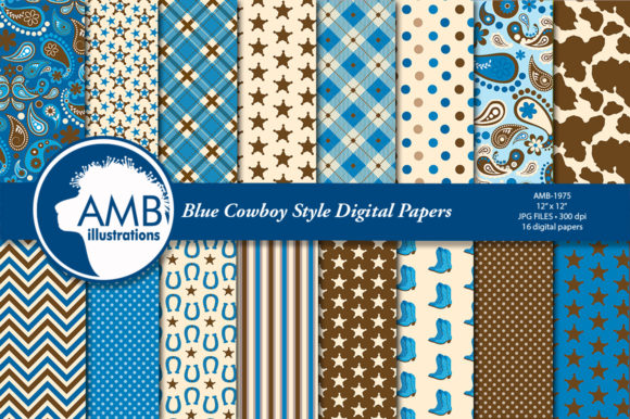 Blue Cowboy Digital Papers AMB-1975 Graphic Patterns By AMBillustrations