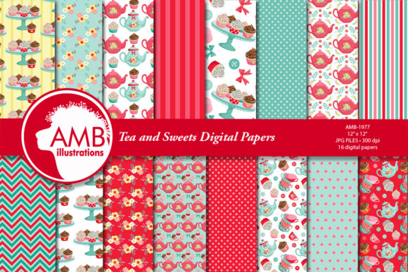 Tea and Sweets Digital Papers AMB-1977 Graphic Patterns By AMBillustrations