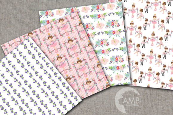 Floral Ballerina Digital Papers AMB-2607 Graphic Patterns By AMBillustrations
