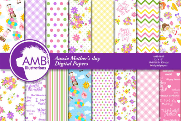 Mother's Day Digital Papers  Graphic Patterns By AMBillustrations