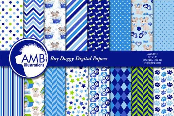 Boy Dog Digital Papers AMB-1931 Graphic Patterns By AMBillustrations - Image 2