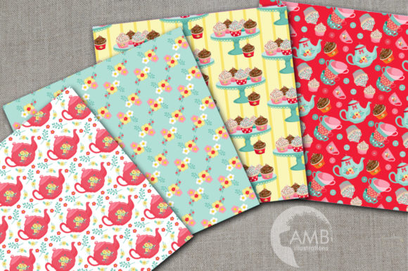 Tea and Sweets Digital Papers Graphic Patterns By AMBillustrations - Image 2