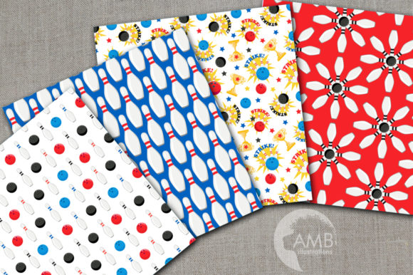 Bowling Night Digital Papers Graphic Patterns By AMBillustrations - Image 2