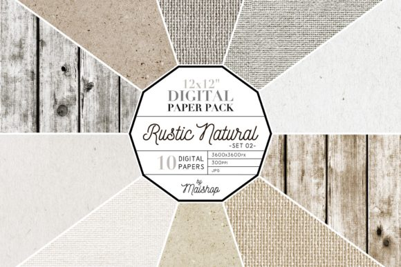 Print on Demand: Digital Paper Pack Rustic Natural Set 02 Graphic Patterns By Maishop