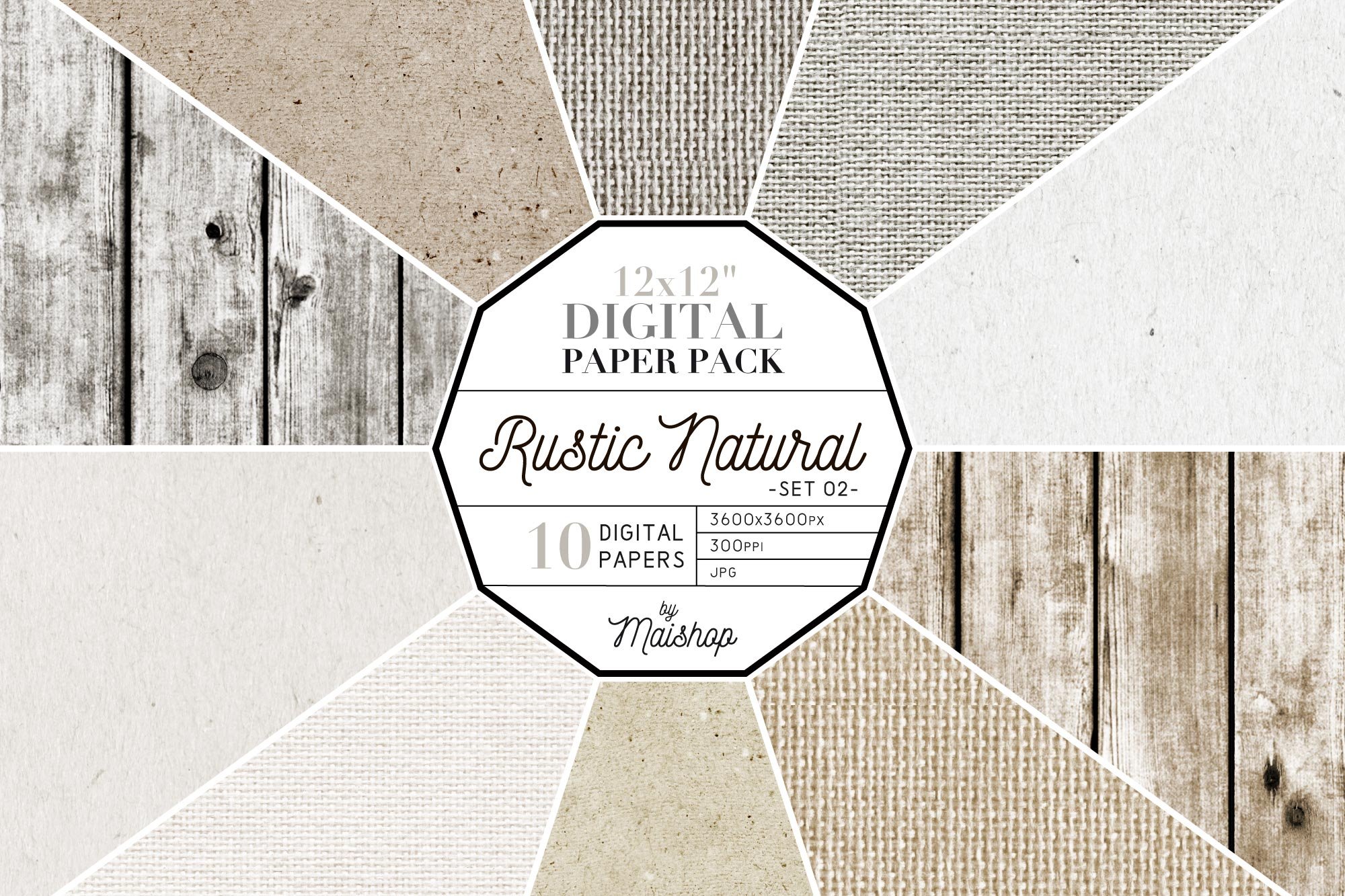 Download Free Digital Paper Pack Rustic Natural Set 02 Graphic By Maishop for Cricut Explore, Silhouette and other cutting machines.