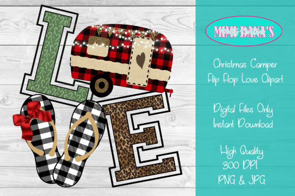 Print on Demand: Christmas Camper Flip Flop Love Clipart Graphic Crafts By Dana Tucker