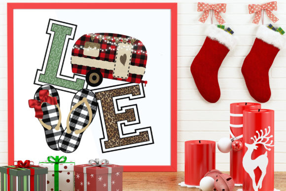 Download Free Christmas Camper Flip Flop Love Clipart Graphic By Dana Tucker for Cricut Explore, Silhouette and other cutting machines.