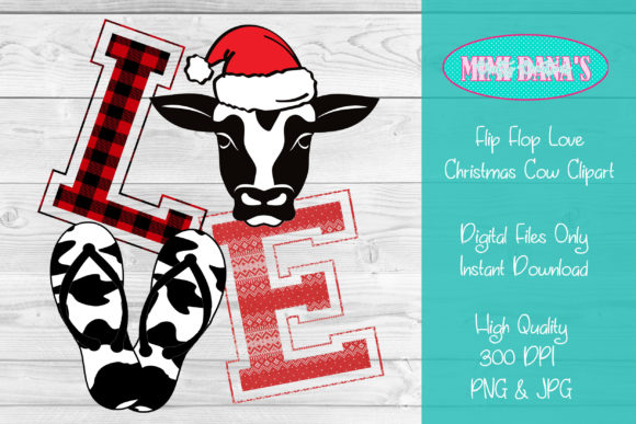 Print on Demand: Flip Flop Love Christmas Cow Clipart Graphic Crafts By Dana Tucker
