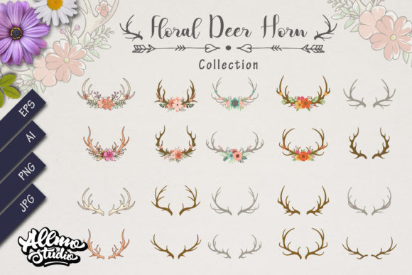Download Free Bundle Set Of Deer Antlers With Floral Graphic By Allmostudio for Cricut Explore, Silhouette and other cutting machines.