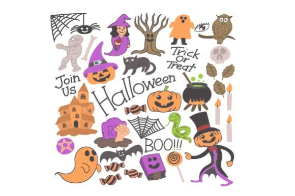 Download Free Halloween Doodle Hand Drawn Illustration Graphic By Firdausm601 for Cricut Explore, Silhouette and other cutting machines.