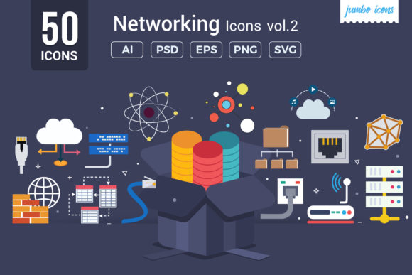 Print on Demand: Flat Vector Icons Networking Pack Graphic Icons By jumboicons