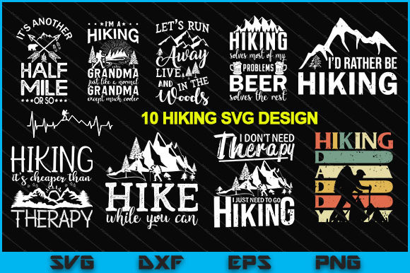 Download Free Hiking Design Bundle Graphic By Artistcreativedesign Creative for Cricut Explore, Silhouette and other cutting machines.
