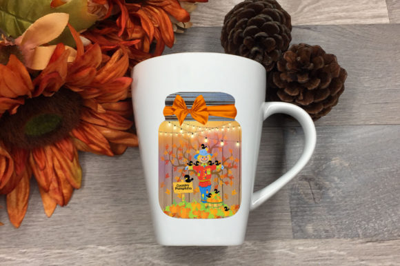 Print on Demand: Scarecrow Country Pumpkins Mason Jar Art Graphic Crafts By Dana Tucker